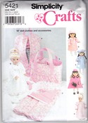 "Simplicity 5421 18"" Doll Clothes Accessories Pattern Uncut"