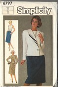 Simplicity6797 Jacket Dress Size 12 Vintage Pattern