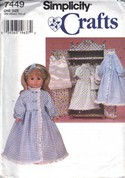 Simplicity 7449 18 Inch Doll Clothes Pattern Uncut