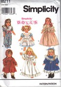 Simplicity 8211 18 Inch Doll Clothes Pattern Uncut