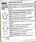 Simplicity 9984 Dummies Chair Stool Cover Pattern UNCUT