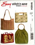McCalls Stitch Save 4904 Handbag and Tote Pattern UNCUT