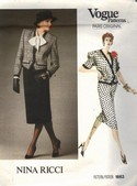 Vogue 1663 Nina Ricci Jacket Skirt Pattern Size 12 Uncut