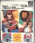 Vogue 1959 Zoo Children Book Applique Pattern UNCUT