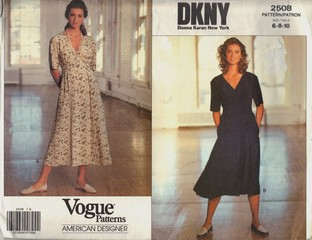 Vogue 2508 DKNY Wrap Dress Pattern UNCUT