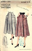 Vogue 6981 Circa 1950 Vintage Skirt Pattern