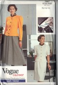 Vogue 7667 Top Skirt Career Pattern UNCUT 12-14-16