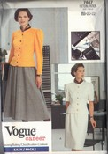 Vogue 7667 Top Skirt Career Pattern UNCUT 18-20-22