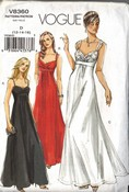 Vogue 8360 Glamorous Evening Gown Pattern 12-16 UNCUT