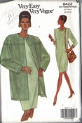 Vogue 8422 Dress Long Jacket Pattern 8-10-12 UNCUT