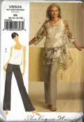 Vogue 8504 Tunic Top Pants Pattern Medium UNCUT