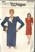 Vogue 8930 Loose-fitting Straight Dress Sz 12 Uncut