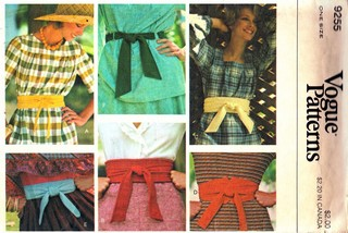 Vogue 9255 Belt Sewing Pattern UNCUT