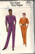 Vouge 9479 Jumpsuit Sewing Pattern 12-14-16 1980's