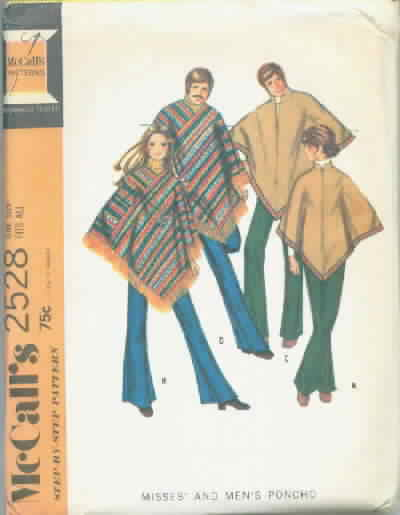 McCall's 2528 Vintage Pattern Misses Men's Poncho