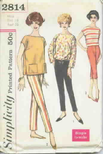 Retro Vintage Slim Pants, Top Pattern Sz 16 Simplicity 2814