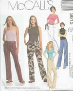 McCalls 3615 Low Rise Pants Sewing Pattern UNCUT