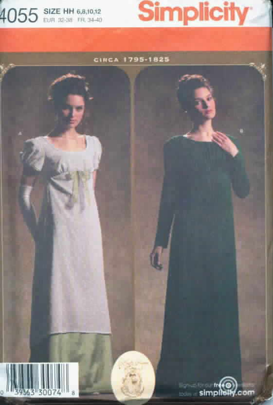Simplicity 4055 Jane Austen Costume Pattern Circa 1795-1825 NEW