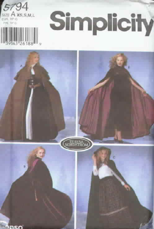 Simplicity 5794 19th Century Look Cape Pattern Uncut Size A
