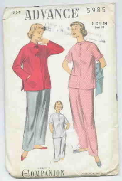 Advance 5985 Vintage Pajama Pattern