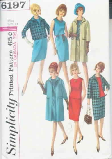 Simplicity 6197 Size 14 Vintage Pattern Wardrobe Dated 1964
