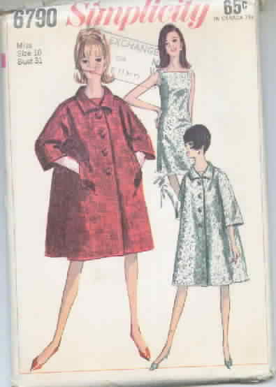 Simplicity 6790 Coat and Dress Vintage Pattern Dated 1966