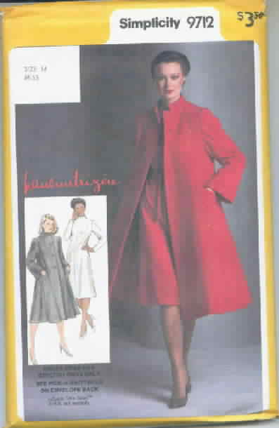 Simplicity 9712 Pauline Trigere Coat Dress Vintage Pattern