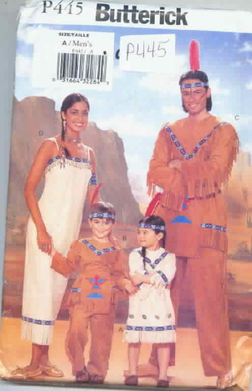 Butterick P445 Indian Native American Men's Costume Pattern
