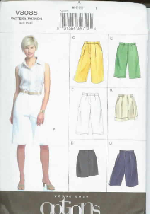 Vogue 8085 Easy Options Short Sewing Pattern Uncut