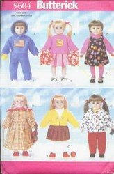 Butterick 5604 Pattern 18 Inch Back to School Doll Wardrobe
